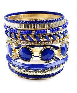 BLUE SAPPHIRE LUCITE STUD CLEAR CRYSTAL STUD 13 GOLD TONE BANGLE BRACELET