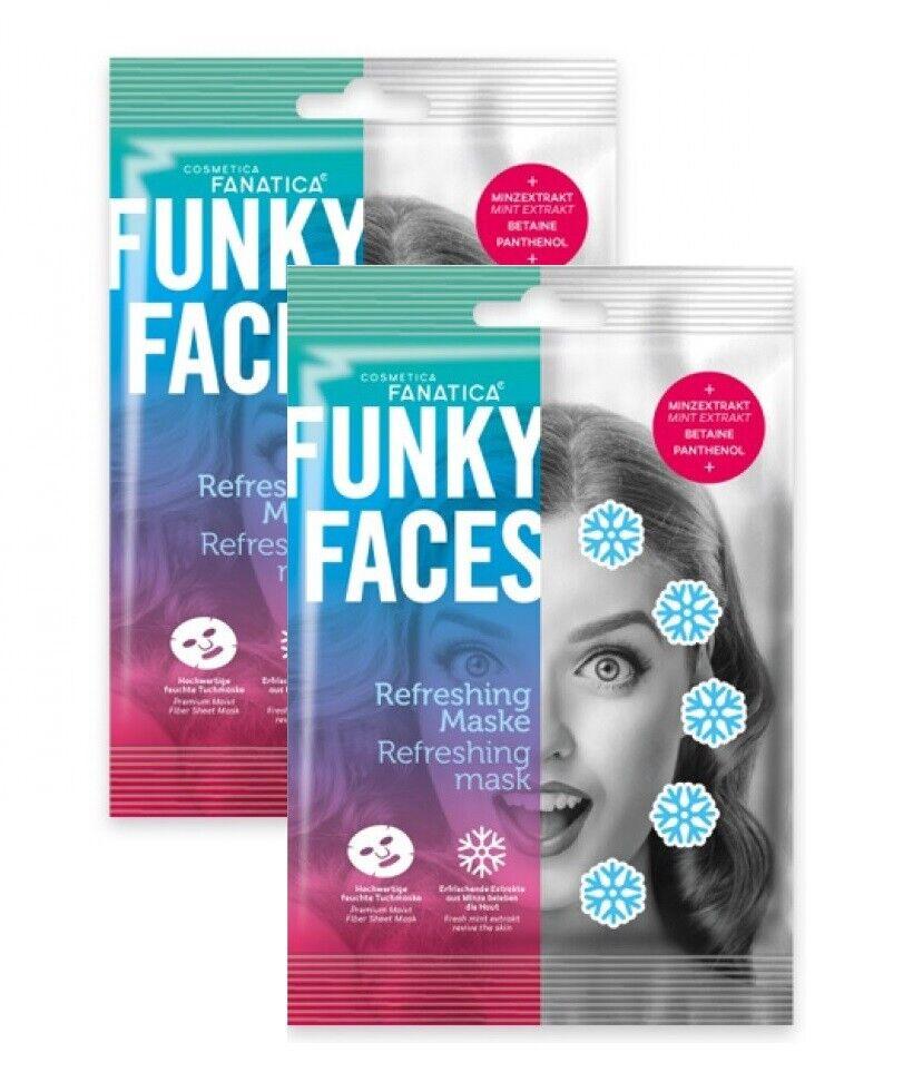 """2x FUNKY FACES """"Erfrischungs-Maske"""" Gesichts-Tuch-Pflegemaske BETAINE Minze"""