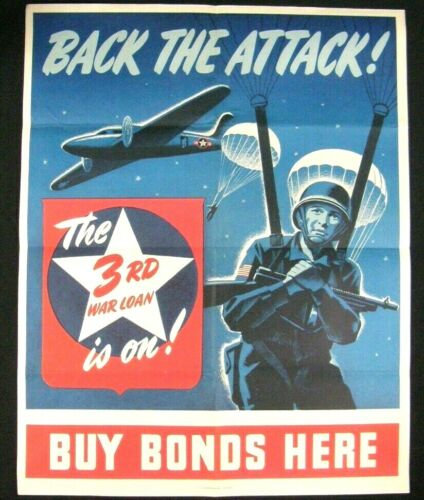 WW2 Original Propaganda Poster Back the Attack Paratrooper Soldier War Bonds