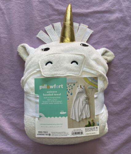 Pillowfort Baby Unicorn Hooded Bath Towel White