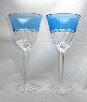Set of 2 Tall AJKA Crystal ARIETTA AZURE Blue Goblets Stemware Glasses