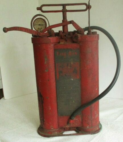 Antique Empty Vintage  Fire Gun double cylinder extinguisher American LaFrance