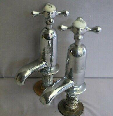 CHROME BATHROOM BASIN TAPS RECLAIMED & FULLY REFURBISHED RETRO TAPS