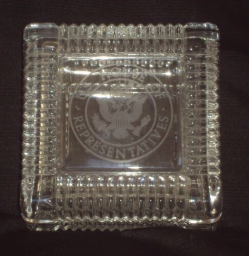 Vintage ~ US House of Representatives Etched Seal Clear Glass Square Desk Box