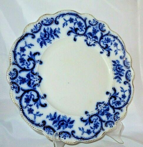 "Antique Flow Blue W.H. Grindley ""PORTMAN""   Pattern England 9 7/8"" Dinner Plate"
