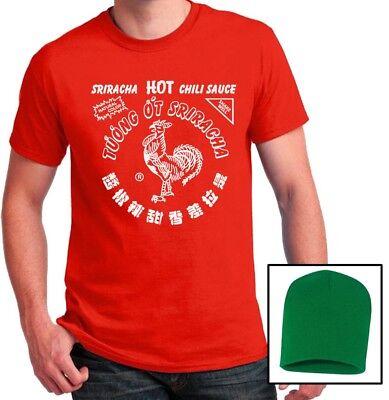 Sriracha Hot sauce T-shirt & Beanie Hat Halloween Costume Set Mens Ladies Shirts - Halloween Hot Sauce