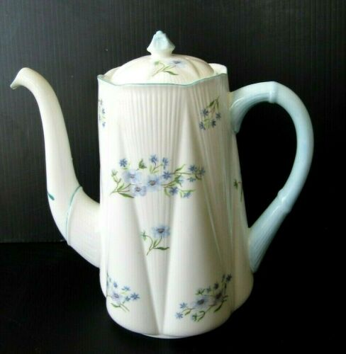 Shelley England BLUE ROCK DAINTY SHAPE Coffee Pot 13591 Vintage Antique