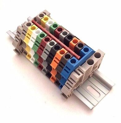 Any Color Distribution Terminal Blocks 10 Gang DIN Rail Dinkle 10AWG 30A 600V