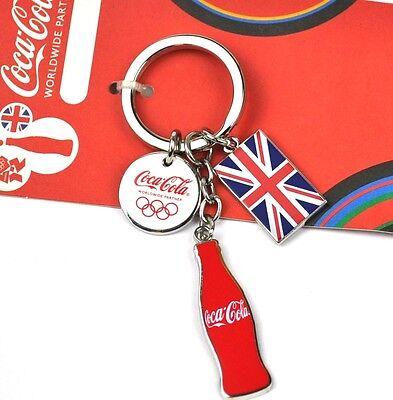 Coca-Cola Coke England Schlüsselanhänger rote Flasche Union Jack Olympia Logo
