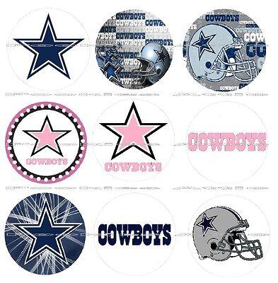 "63 Ct. Dallas Cowboys Scrapbooking Bottle Cap 1"" Stickers Set #1 - Adhesive"