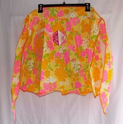 Vtg Apron Floral Fruit Of The Loom Label NWT NOS Bright Pink Yellow Green Orange