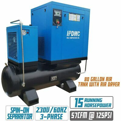 15hp Rotary Screw Air Compressor 57cfm 80gal. Asme Tank Air Dryer 230v 3 Phase