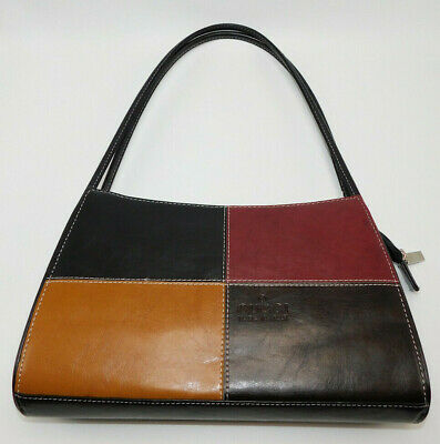 Vintage GUCCI Burgundy/Black/Brown/Yellow? Patent Leather Hand Bag/Tote