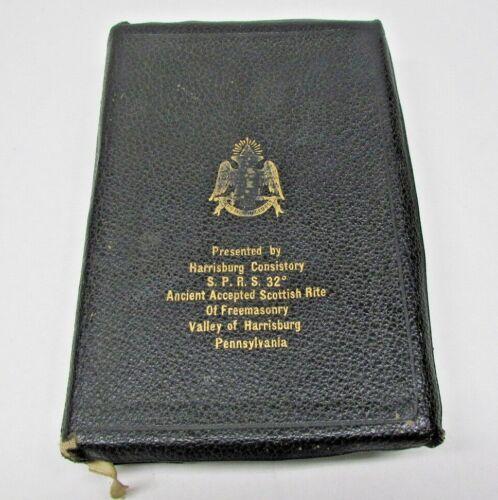 Antique Vintage 1957  Masonic Mason Freemason Holan Leather Bible Scottish Rite