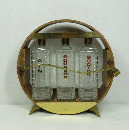 KAROFF Barware 3 Liquor Decanter Bottles Gin Scotch bourbon Vintage Mid Century