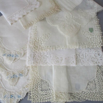 Lot 9 Vintage WEDDING Handkerchiefs FRENCH + Brussels LACE * w Tags ~ BRIDAL