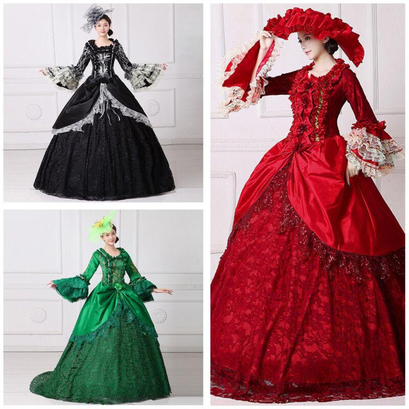 Women Halloween Dress Victorian Medieval Princess Costume Gown Marie Dress