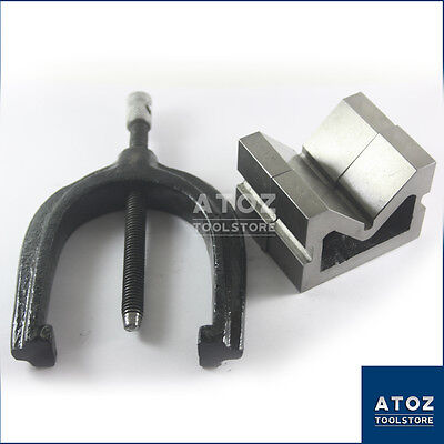 75x63x38mm Vee Blocks Pair Cast Iron With Clamp Best Quality Atoz