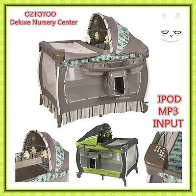 BN BABY Travel Portable Cot Deluxe AIO Nursery Center + ipod/mp3 input