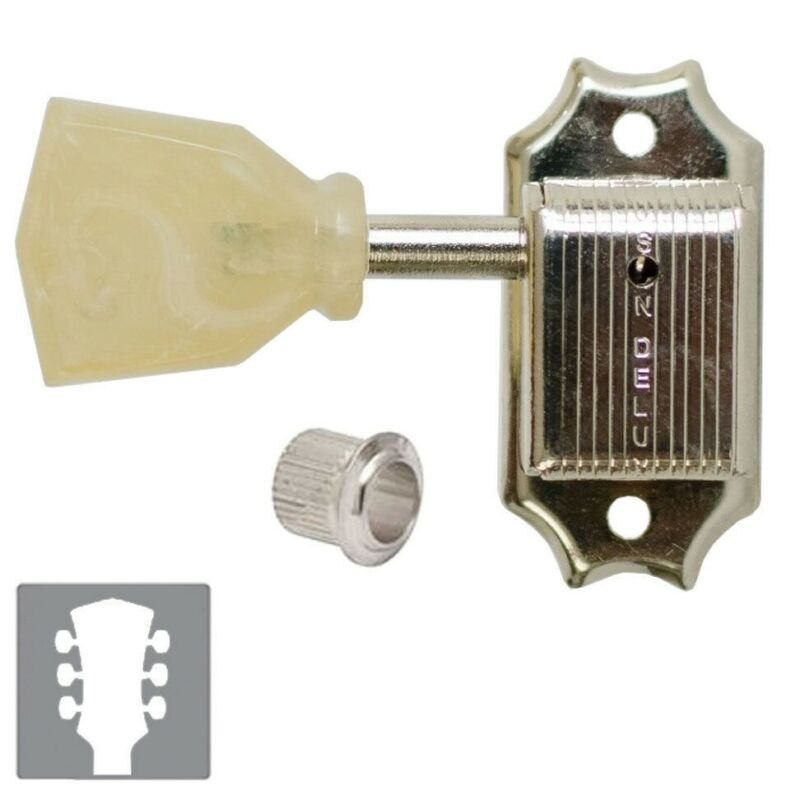 NEW Kluson SD90SLN L3+R3 Keystone Tuners for Vintage Gibson® Guitar 3x3 - NICKEL