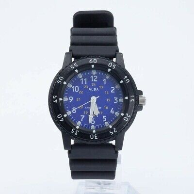 SEIKO ALBA V501-0CF0 BLUE DIAL WATCH JAPAN