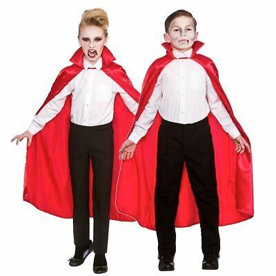 Kids Childs Red Deluxe Vampire Dracula Cape Cloak - Satin Vampir Cape Kostüme