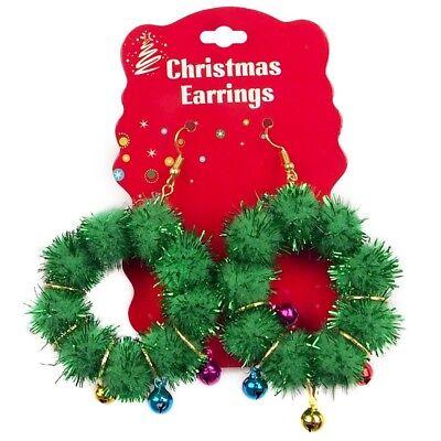 2 X Weihnachtskranz Creole Bommel Ohrringe Büro Kostüm-party Baum - Creole Kostüm