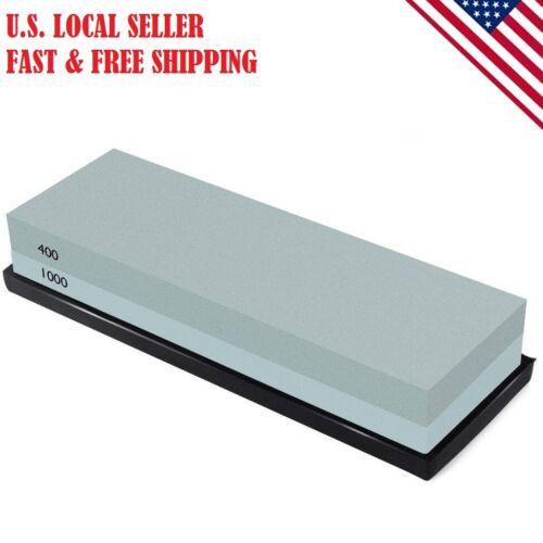 Knife Sharpening Stone Combination Dual Sided Grit Polishing Non-Slip 400/1000