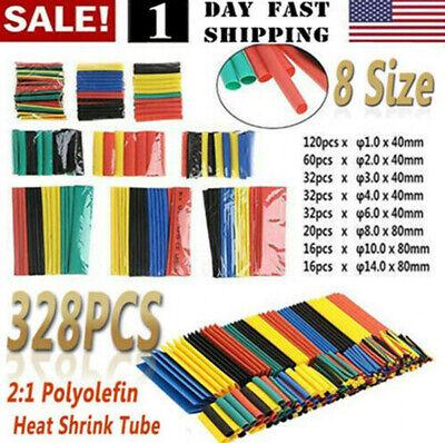 Us 328pcs Cable Heat Shrink Tubing Sleeve Wire Wrap Tube 21 Assortment Kit Set