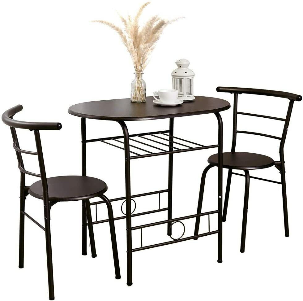 3PCS Dining Table Set With 2 Chairs Metal Kitchen Living Room Couple Furniture