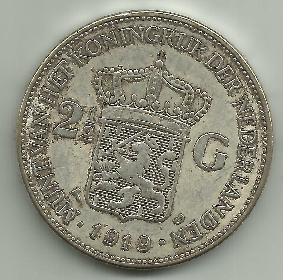 Nederland Niederlande Holland 2 1/2 Gulden munt Münze Coin 1919