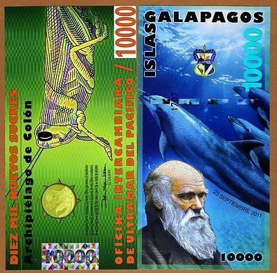 Galapagos Islands 10000 (10,000) Sucres, 2011 POLYMER UNC > Darwin