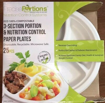 (Precise Portions Nutrition Healthy Portion Control Plates 25 Plates)