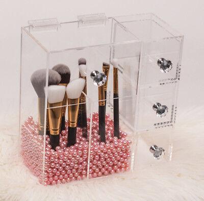 Make Up Organizer für Pinsel mit 3 Schubladen Acrylglas Diamantoptik Griff Make-up Mit Pinsel