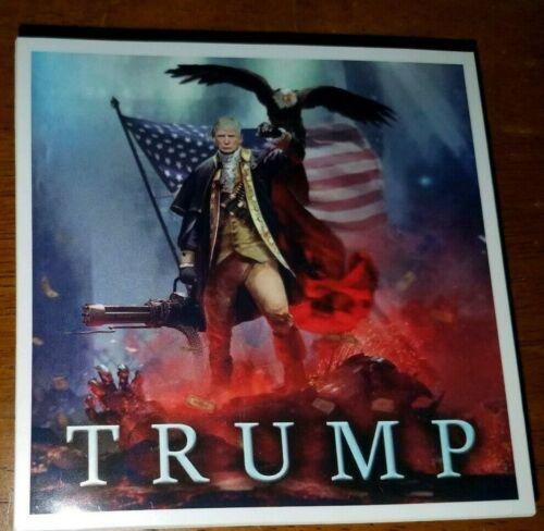 "Donald Trump as Patriot George Washington Bald Eagle Funny Sticker 4""×4"" TRUMP"