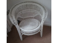 Wicker Chair Large White