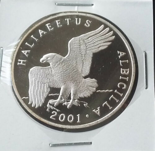 2001 Korea 7 Won, WHITE-TAILED EAGLE, Silver 999, Bird FAUNA, Proof, Scarce !!
