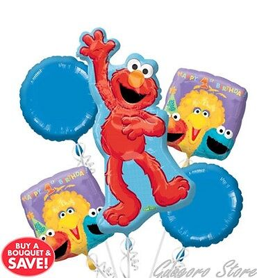 SESAME STREET Elmo 1st Birthday Foil Balloon Bouquet Party Favors Prizes Decor](Elmo Party Decor)