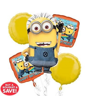 Minions Birthday Decorations (Despicable Me Minions Birthday Foil Balloon Bouquet Party Favors Prizes)