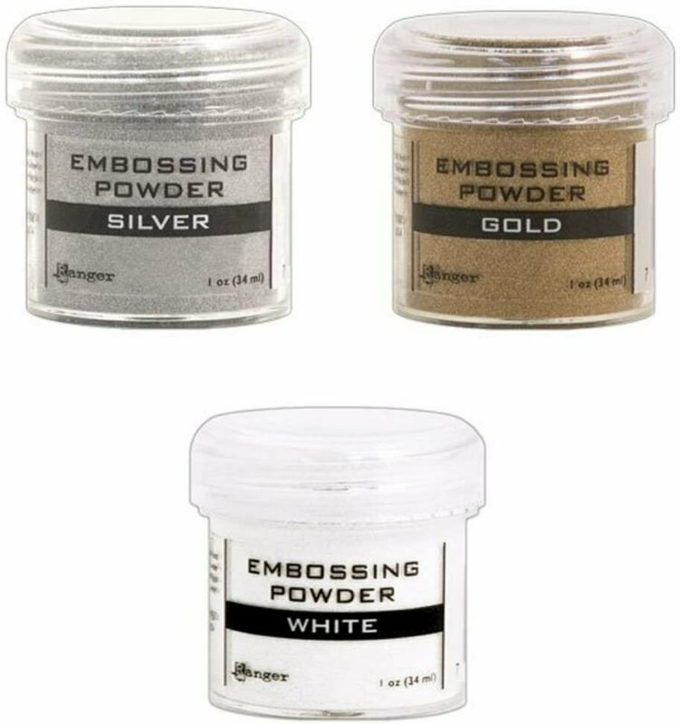 Ranger Embossing Powder Lot: Gold, Silver and White