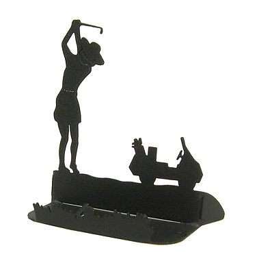 Female Golf Black Metal Business Card Holder