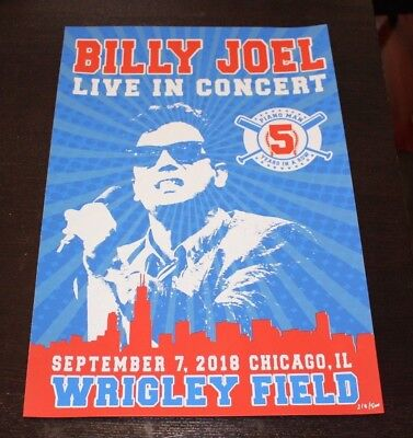BILLY JOEL POSTER~CHICAGO WRIGLEY FIELD~9/7/18~PIANO MAN