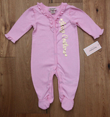 - Juicy Couture Baby Girl Coverall ~ Pink & Gold ~ Ruffles ~ Pointelle Hearts ~