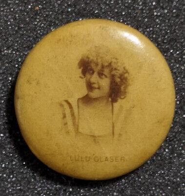 Vintage 1915 Sweet Caporal Cigarette Actress Lulu Glaser Advertisement Pinback