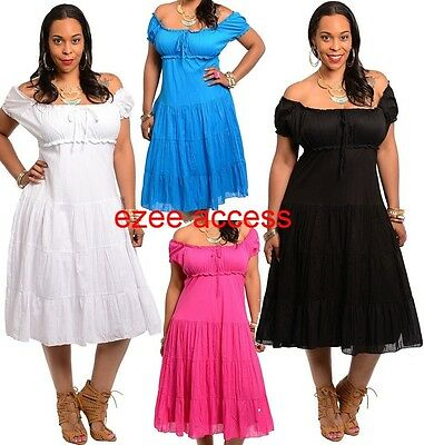 Women Plus Size On Off Shoulder Vintage Sty Victorian Pinup Summer Sun Dress - Plus Size Victorian Dresses