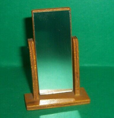 VINTAGE DOLLS HOUSE 1950's EARLY BARTON WOODEN TILT CHEVAL MIRROR LUNDBY SCALE