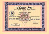 Editions Spes Sa, Obligacion, Paris, 1939 -  - ebay.es