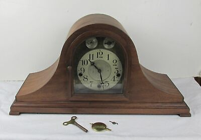 1930's Antique Waterbury Tambour Mantel Clock West Minister Chimes 1918 patent