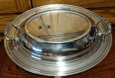 Silverplate Oval Platter Covered Dish Lid with Handles