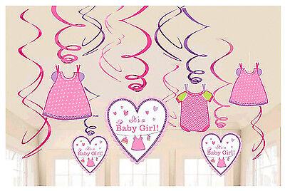 Baby Girl Party Supplies (Shower with Love Baby Girl Value Pack Foil Swirl Decorations Party Supplies)